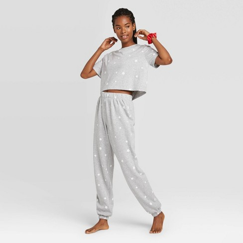 Women's T-Shirt and Fleece Joggers Pajama Set with Scrunchie - Colsie™ - image 1 of 4