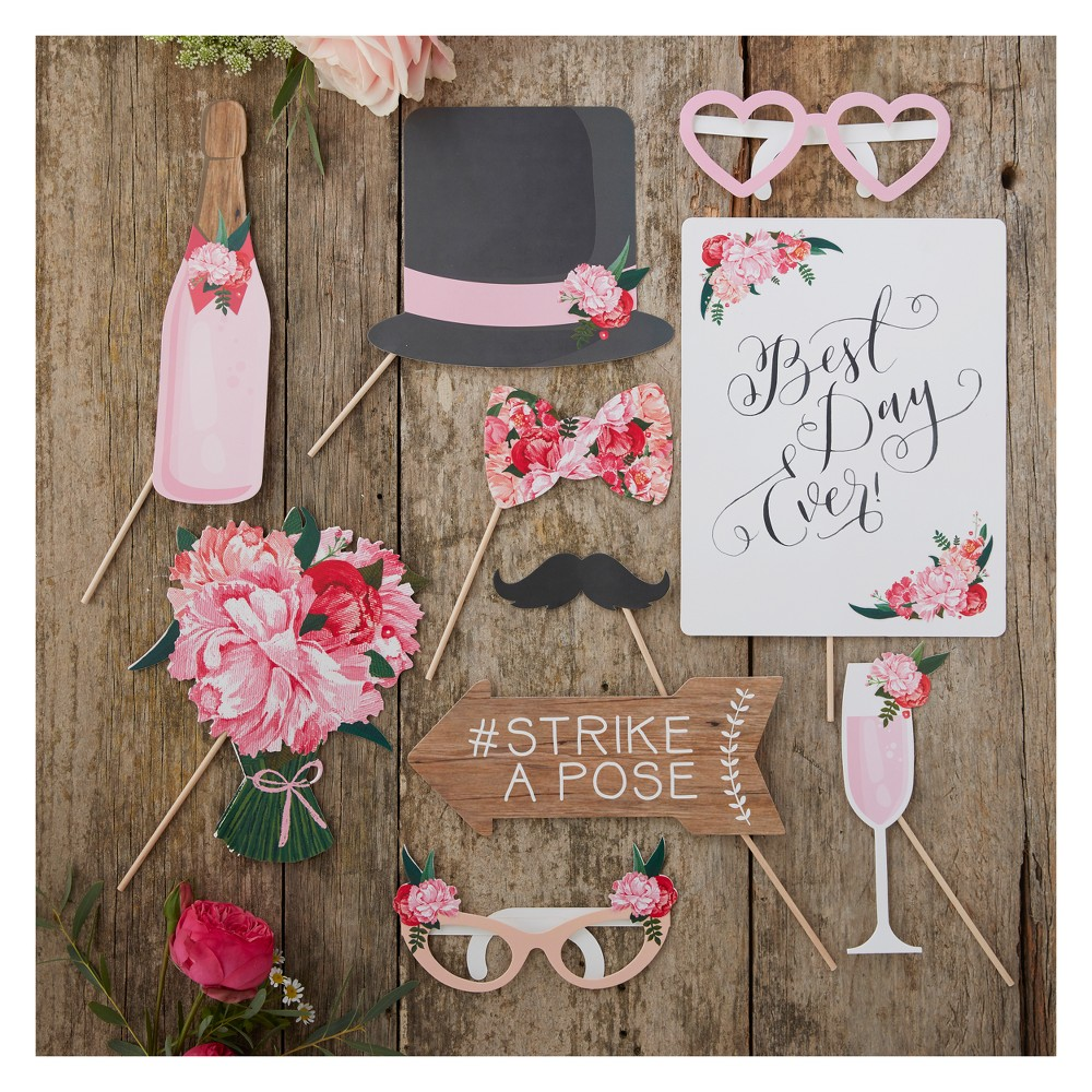 Image of 10ct Ginger Ray Wedding Photo Booth Props Boho