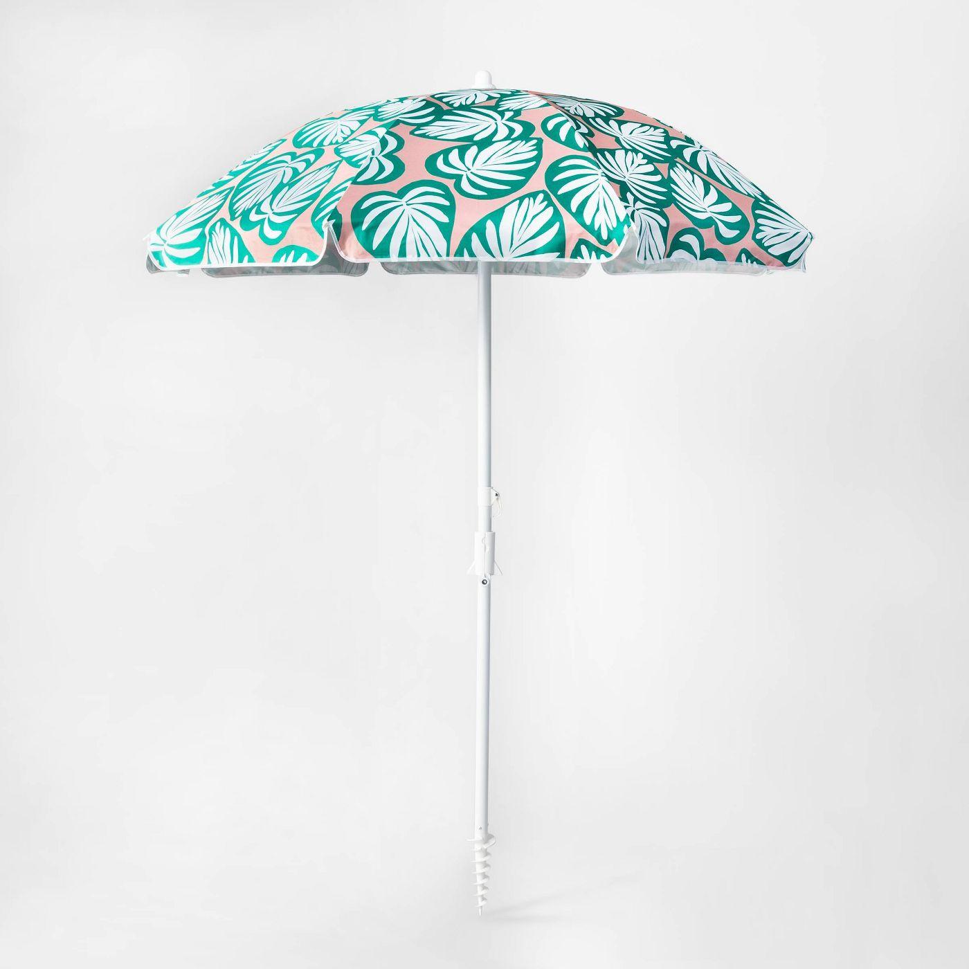 6' Palm Print Beach Umbrella Green/Pink - Sun Squad™ - image 1 of 5