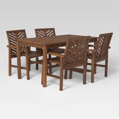 5pc Chevron Outdoor Patio Dining Set - Dark Brown - Saracina Home
