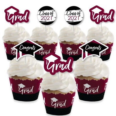 Big Dot of Happiness Maroon Grad - Best is Yet to Come - Cupcake Decor- 2021 Burgundy Grad Party Cupcake Wrappers and Treat Picks Kit - Set of 24