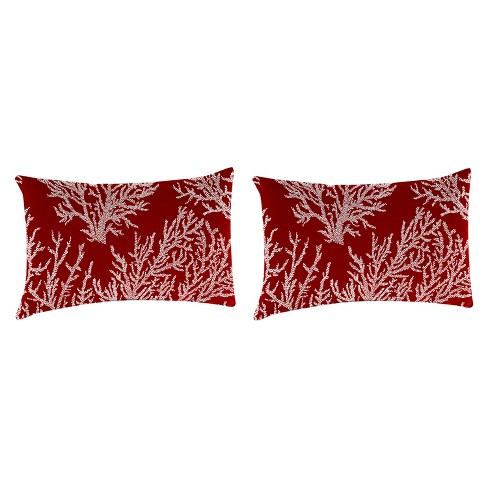 Outdoor Set Of 2 Rectangular Accessory Toss Pillows In Seacoral Red  - Jordan Manufacturing - image 1 of 1