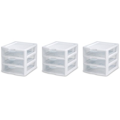 Sterilite Clear Plastic Stackable Small 3-Drawer Storage System (3 Pack)