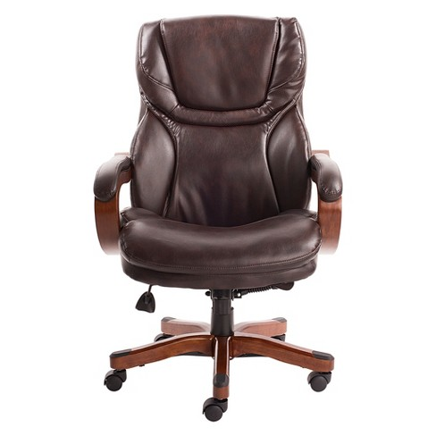 And Tall Executive Office Chair With Upgraded Wood Accents Serta