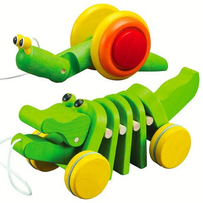Plan Toys Pull Along Snail and Dancing Alligator Pull Toys