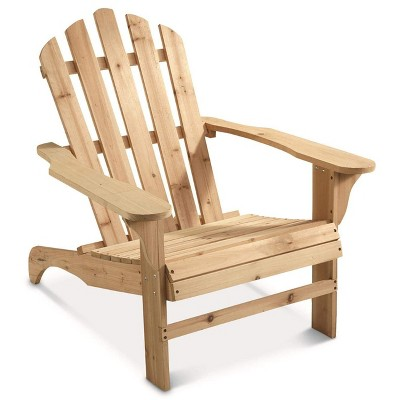 CASTLECREEK Oversized Outdoor Patio and Lawn Wooden Adirondack Chair with 400 Pound Weight Capacity and Contoured Seat, Unfinished