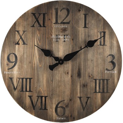 FirsTime Rustic Barnwood Wall Clock Brown