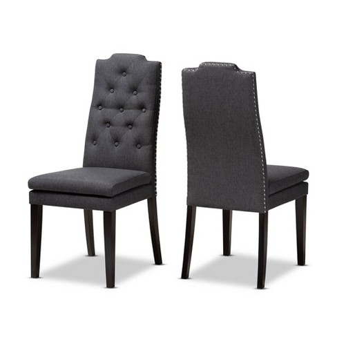Set of 2 Dylin Button Tufted Wood Dining Chair Charcoal - Baxton Studio - image 1 of 4
