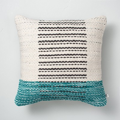 """18"""" x 18"""" Dotted Wave Stripes Indoor/Outdoor Throw Pillow Teal - Hearth & Hand™ with Magnolia"""