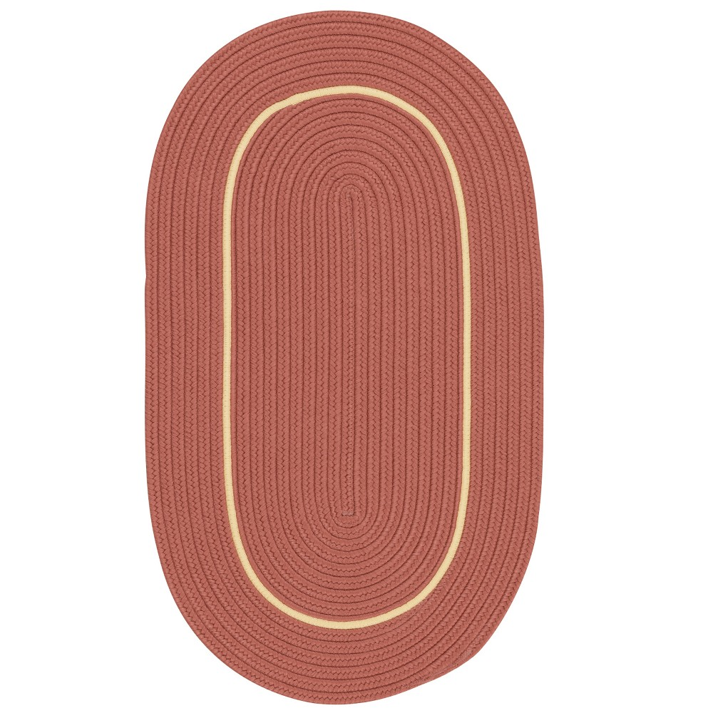 9'X12' Solid Braided Oval Area Rug Red - Colonial Mills