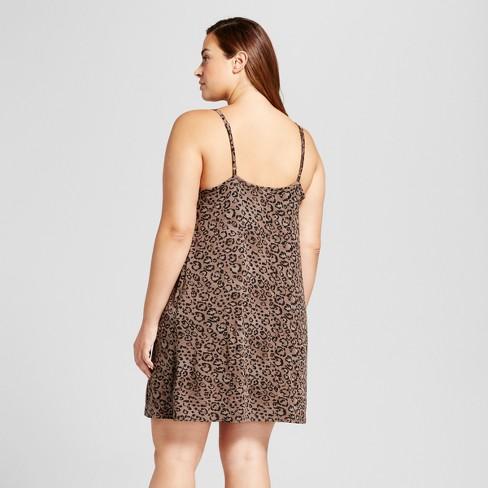 Womens Plus Size Pajama Chemise Leopard Print Ava Viv Target