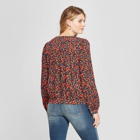 db5ee35a582b Women's Floral Long Sleeve Wrap Top - Universal Thread™ Orange : Target