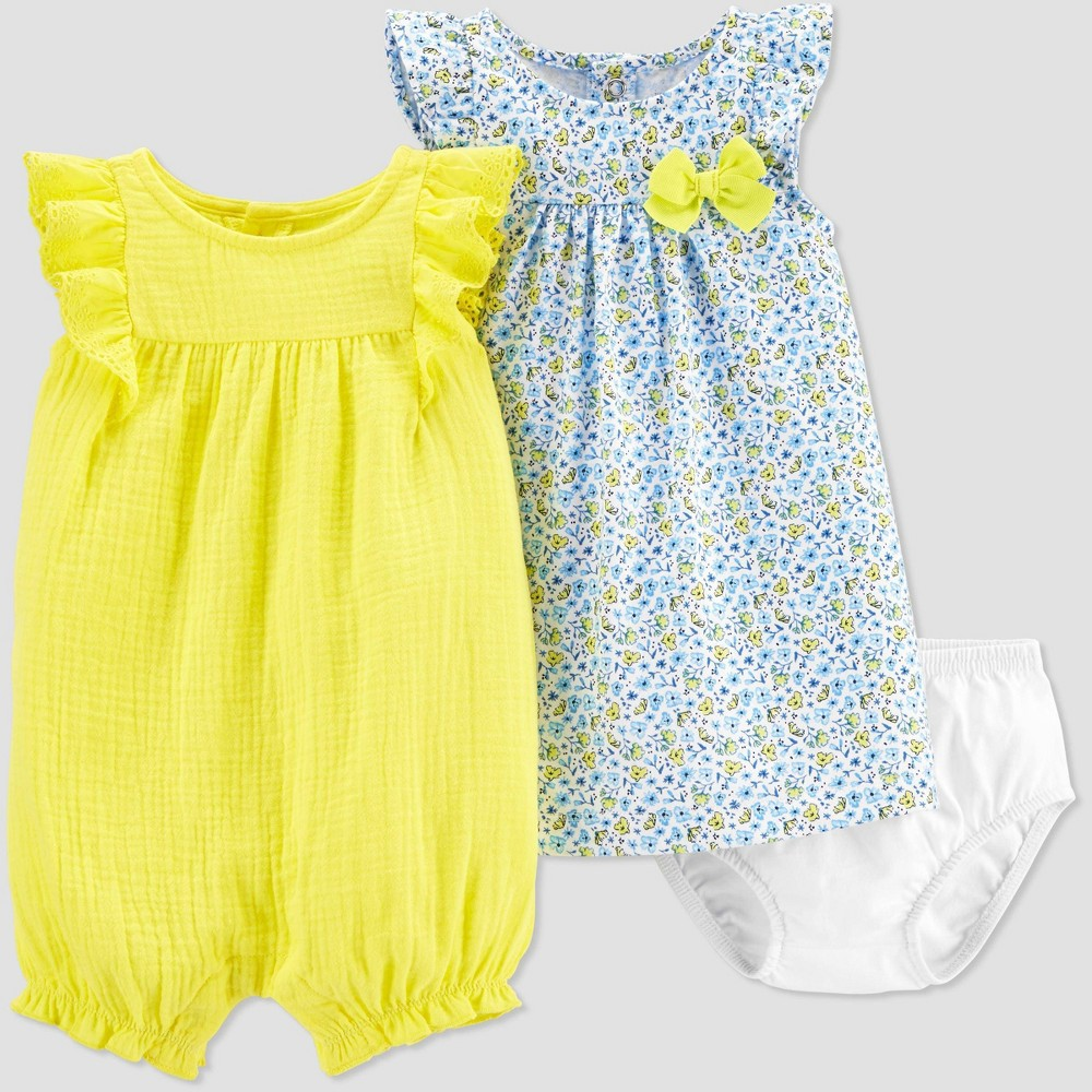 Image of Baby Girls' Romper & Dress Set - Just One You made by carter's Yellow 9M, Girl's