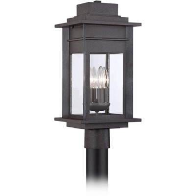 """Franklin Iron Works Outdoor Post Light Fixture Black Specked Gray 19 1/2"""" Clear Glass for Exterior Garden Yard Patio Driveway"""