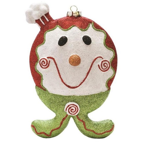 """Northlight 9"""" Merry & Bright Red, White and Green Glittered Shatterproof Gingerbread Boy Christmas Ornament - image 1 of 1"""