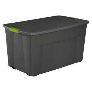 Sterilite® 45 Gal Latching Storage Tote - Gray with Green Latch