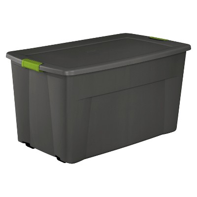 Gentil Sterilite® 45 Gal Latching Storage Tote   Gray With Green Latch