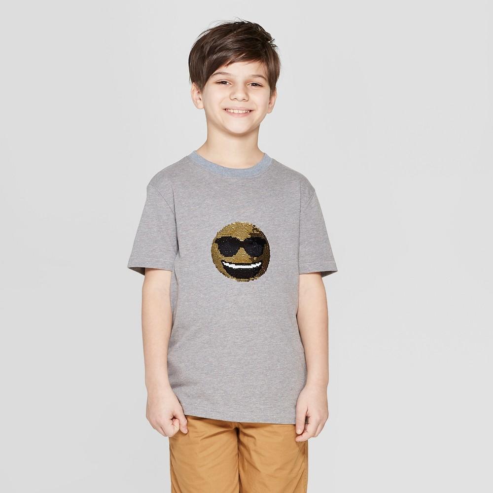 Boys' Short Sleeve Emoji Flip Sequin T-Shirt - Cat & Jack Charcoal XS, Gray