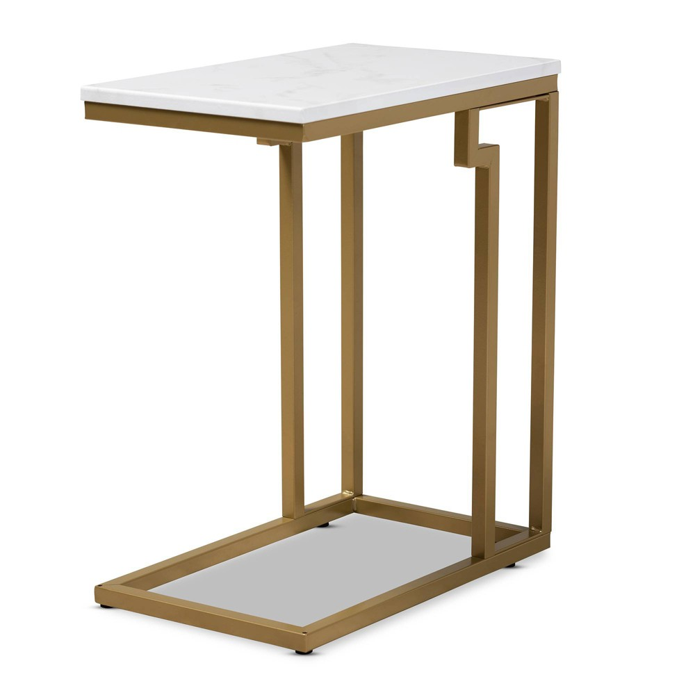 Image of Renzo Brushed Metal End Table with Faux Marble Tabletop White/Gold - Baxton Studio, White Gold
