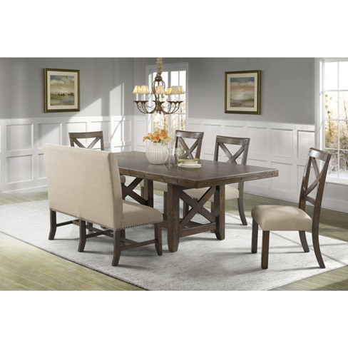 Incredible Francis 6Pc Dining Set Table 4 X Back Side Chairs And Fabric Back Bench Brown Picket House Furnishings Ncnpc Chair Design For Home Ncnpcorg