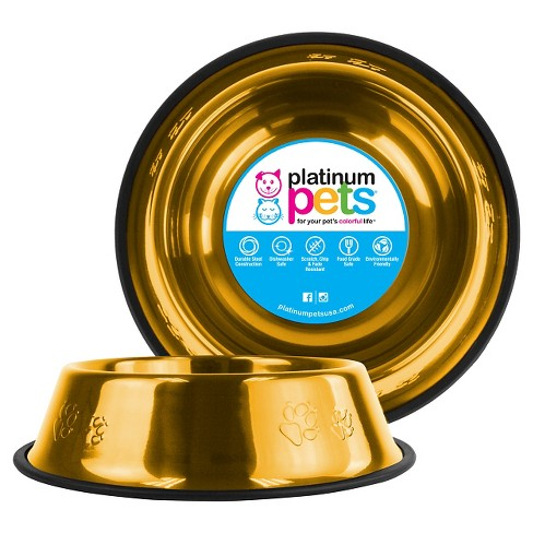Platinum Pets Embossed Non-Tip Cat/Dog Bowl - Gold - 10 Cup - image 1 of 2