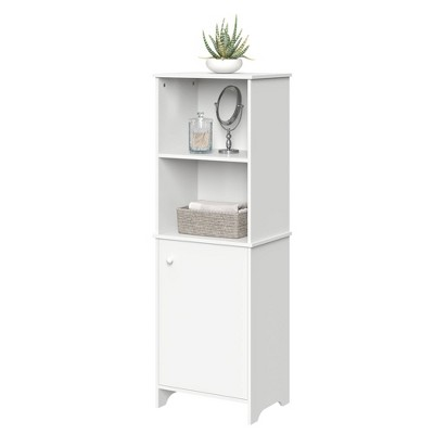 Linen Cabinet with Open Cubbies White