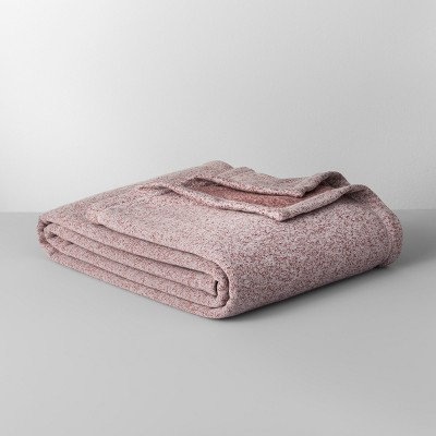 Full/Queen Solid Sweater Fleece Bed Blanket Orange Berry - Made By Design™
