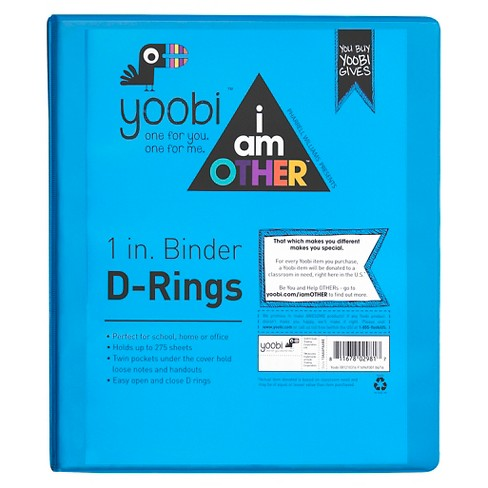 "Yoobi™ x i am OTHER 1"" Binder with easy-open D ring - Blue - image 1 of 2"