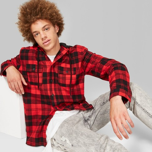 Men's Plaid Long Sleeve Detachable Hooded Button- Down Shirt - Original Use™ - image 1 of 4