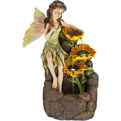 "John Timberland Outdoor Floor Water Fountain with Light LED 26"" High Cascading Garden Fairy and Sunflowers for Yard Garden Patio"