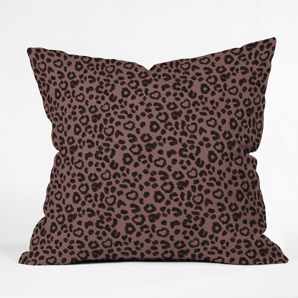 Dash And Ash Leopard Love Square Throw Pillow Brown - Deny Designs Top
