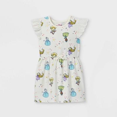 Toddler Girls' Disney Princess Print Knit Short Sleeve Dress - Cream