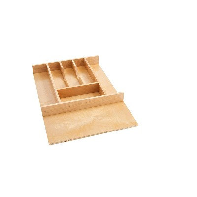 Rev-A-Shelf 4WCT-1SH Short Trim-to-Fit  Wooden Cutlery 7 Compartment Tray Insert Utensil Organizer for Kitchen Cabinet Drawers, Natural Maple