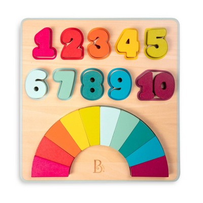B. toys Wooden Number Puzzle - Counting Rainbows 21pc
