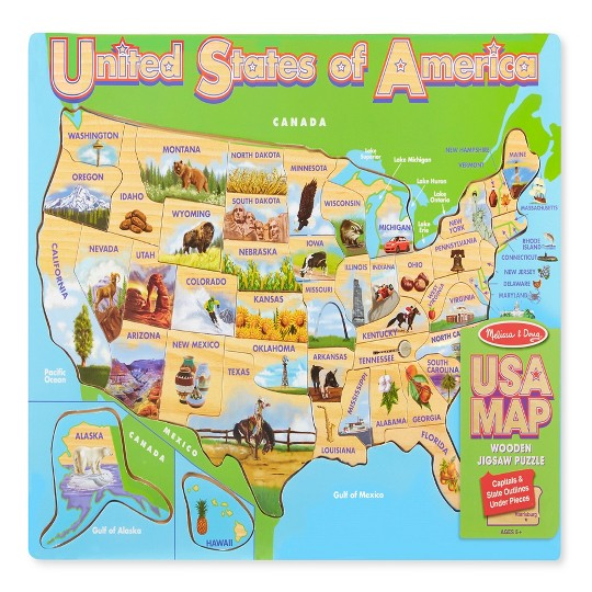 Melissa & Doug USA Map Wooden Jigsaw Puzzle 45pc image number null