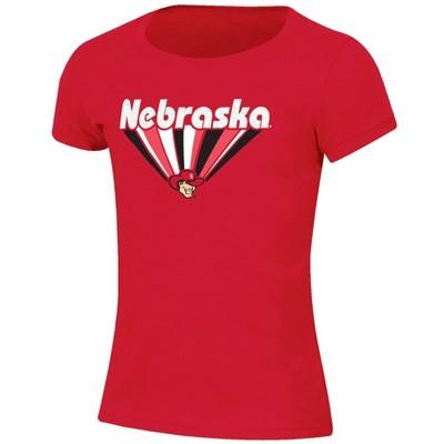 NCAA Nebraska Cornhuskers Girls' Short Sleeve Scoop Neck Red T-Shirt