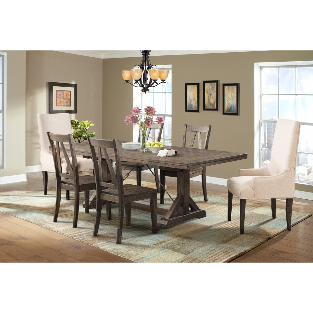 Flynn 7pc Dining Set Table, 4 Wooden Side Chairs And 2 Parson Chairs Walnut Brown / Cream - Picket House Furnishings