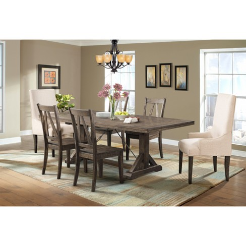 Flynn 7pc Dining Set Table, 4 Wooden Side Chairs And 2 Parson Chairs Walnut Brown / Cream - Picket House Furnishings - image 1 of 4