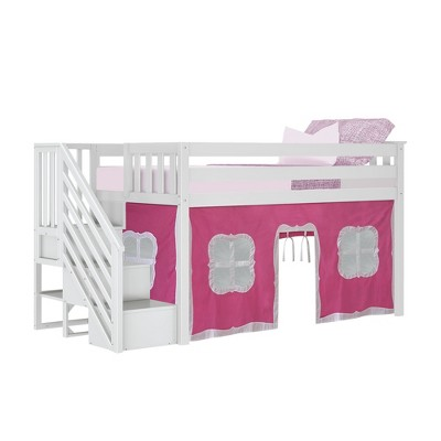 Max & Lily Twin Low Loft with Stairs and Curtains