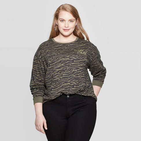 pretty cool hot products huge discount Women's Wild Child Zebra Plus Size Long Sleeve Cropped T-Shirt ...