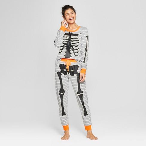 ab37015a8583 Snooze Button Women s Skeleton Pajama Set - Gray   Target