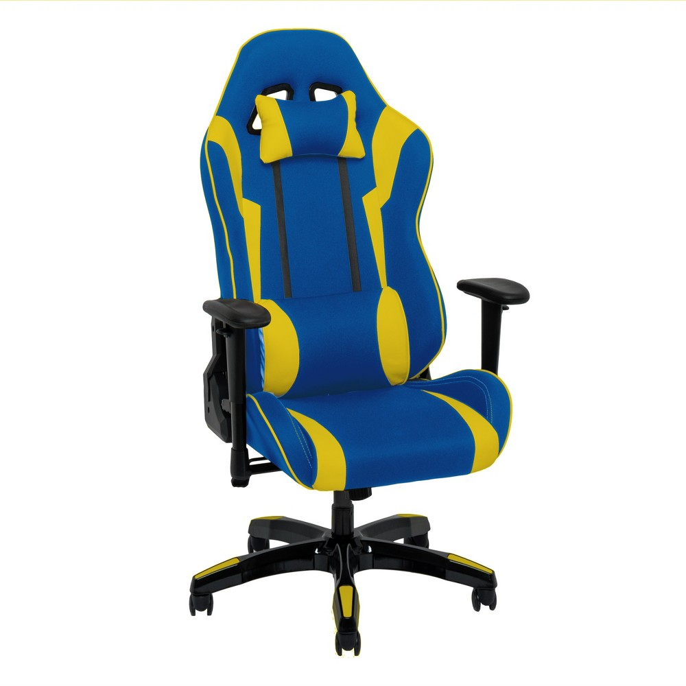 Adjustable High Back Ergonomic Gaming Chair Blue/Yellow - CorLiving