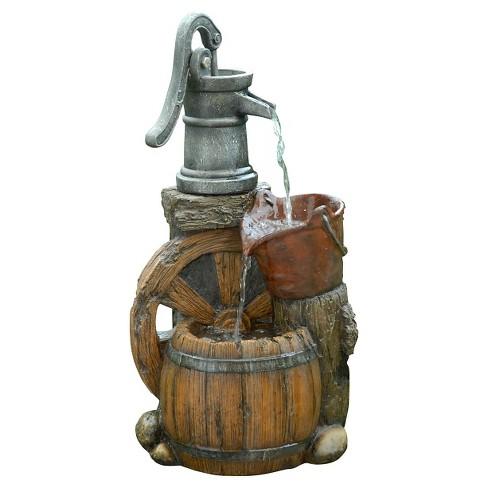 "Alpine Corporation 24"" Old Fashion Pump Barrel Fountain - Multi Color - image 1 of 2"