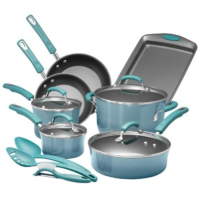 Rachael Ray 14pc Nonstick Cookware Set Blue