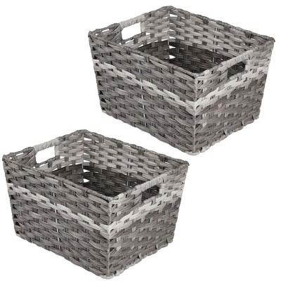 mDesign Wide Rectangular Woven Braided Home Storage Basket Bin, 2 Pack - Gray