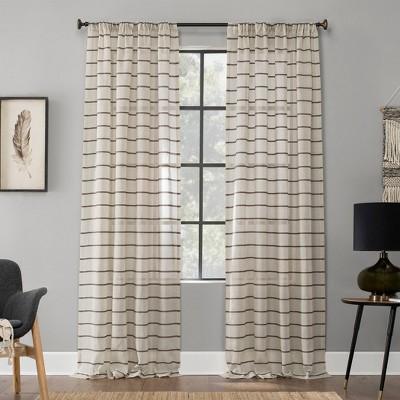"84""x52"" Twill Stripe Anti-Dust Sheer Curtain Panel Light Brown - Clean Window"