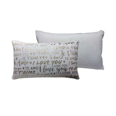Gold Metallic Love Cream Oversize Lumbar Throw Pillow