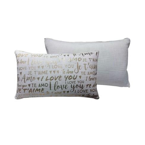 Gold Metallic Love Cream Oversize Lumbar Throw Pillow Target