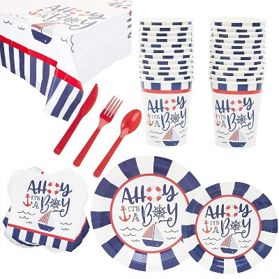 Serves 24 Ahoy It's a Boy Baby Shower Party Supplies Decorations for Boys