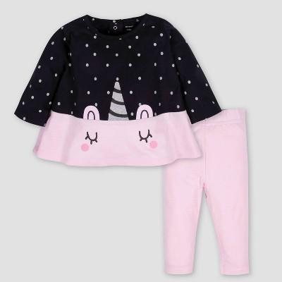 Gerber Baby Girls' 2pc Unicorn Tunic & Leggings Set - Black/Pink 3-6M
